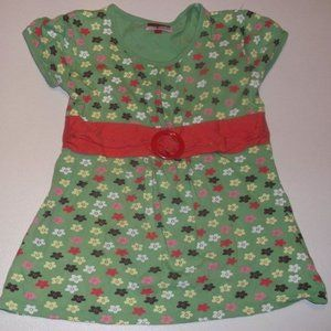 Cool Cat Green Floral Tunic Top Girl Large